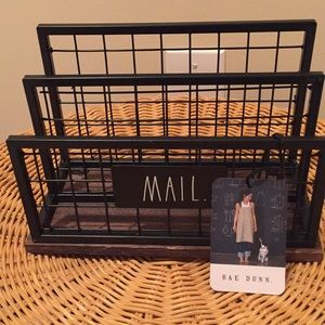 "Rae Dunn ""Mail"" caddy made of metal and wood."